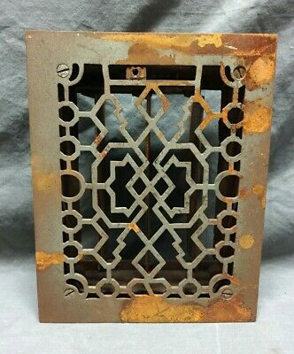 One Antique Cast Iron Decorative Heat Grate Floor Register 6X8 Vintage 250-19C