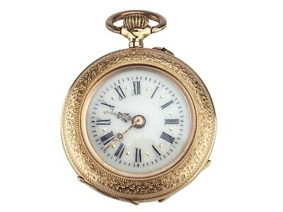 Jugendstil 585 Gold Damen Open Face Taschenuhr!