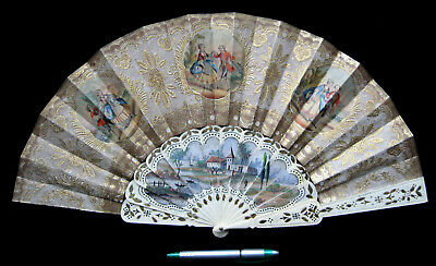 Unusual Antique Victorian French or Spanish Fan Eventail Ventaglio Abanico 1850
