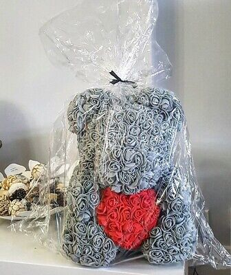 40CM Teddy Bear Lovely Big Red Rose Flower Bear Toys Grey mothers day Gift wrap