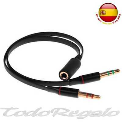 Cable Y splitter 1 jack hembra a 2 macho 3,5mm une microfono y auriculares Negro