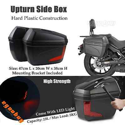 Motorcycle Universal Upturn Side Case 1 Pair Black With LED Light For HONDA BMW