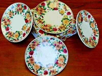 Antique Rose Pattern, Fine China Dessert Plate - Set of 4- Adult Size