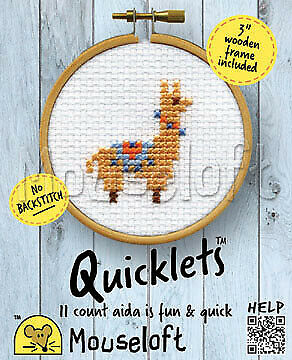 Mouseloft Quicklet Mini Counted Cross Stitch Kit + 3 Wooden Frame No Backstitch