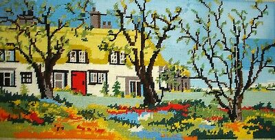 Vintage Cross Stitch Tapestry Picture Unframed Country Cottages