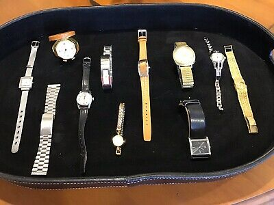 Job Lot Collection of 9 Old Watches & 1 Travel Piece & 1 Watch Strap