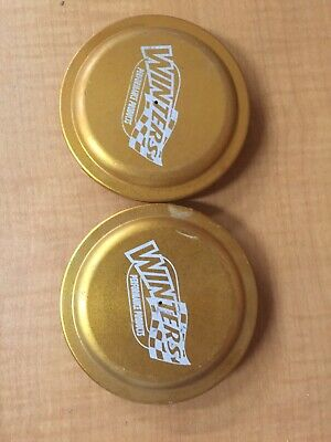 2 New Winters Wide Five Snap In Alum Dust Caps. Gold