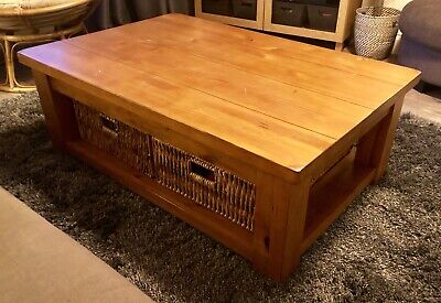 Excellent Large Coffee Table With Baskets From Next Chunky Oak Camellatalisay Diy Chair Ideas Camellatalisaycom