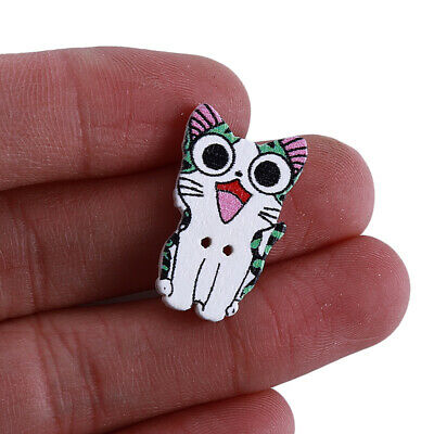 50pcs Cat Wood Buttons Sewing Scrapbooking Gift Clothing Accessories 15-27mm D