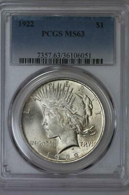 1922 Silver Peace Dollar MS63 PCGS US Mint $1 Coin