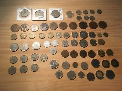 JOB LOT Coins old & foreign currency, penny, lira, cent, franc, 3 pence x 70