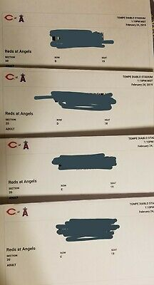 Angels vs. Reds 4 Tickets Spring Training GAME on 2/24/2019