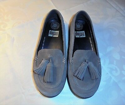 f58d85cd6c316 FitFlop Women s Tassel Bow Sneakerloafer Brown Suede Slip On Shoes Size 5  US EUC