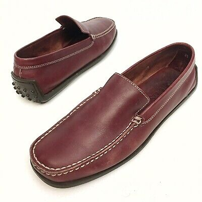 e91a72684c6 Tods Womens Burgundy Leather Slip On Loafers Moccasins Driving Shoes Sz 9  Eu39