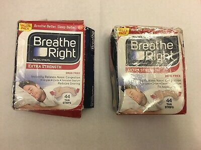 88 BREATHE RIGHT Nasal Strips EXTRA TAN Adult Size Nose Stop Snoring Breath NEW
