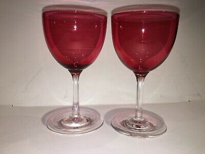 2 X  Antique Victorian Cranberry Glass Hand Blown Sherry / Port Glasses