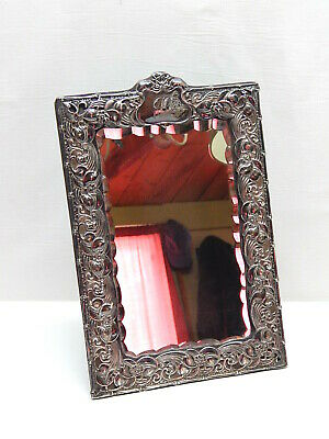 1904 English Birmingham Sterling Silver Art Nouveau Bevelled Easel Stand Mirror