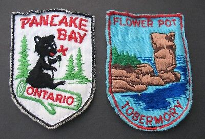 Vintage Travel Patches  2 Canada Ontario Pancake Bay Tobermory Flower Pot Bear