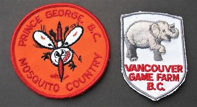 Vintage Travel Patches  2 Canada British Columbia Prince George Vancouver Game