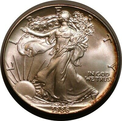 1986 American Eagle Silver Dollar Superb GEM BU Rainbow Subtle Tone semi Key