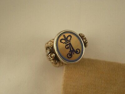 """ANTIQUE RUSSIAN SILVER GOLD PLATED ENAMEL ROYAL CROWN RING MONOGRAM """"A"""" 84 sz9.5"""