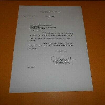 Daniel J. Doherty, National Commander of the American Legion Hand Signed Letter