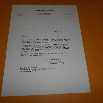 Donald G. Borg editor + assistant publisher Hand Signed 1939 Letter 8.5 x 11