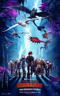 """How to Train Your Dragon 3 The Hidden World Movie Poster Film Print 27x40"""" 24x36"""