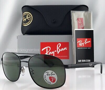 Ray-Ban RB3593 Sunglasses 002/9A Black  Frame Classic Green G-15 Polarized 58mm