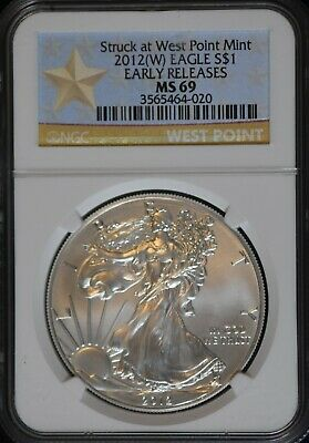 2012 (W) American Silver Eagle Struck at West Point Early Releases NGC MS 69