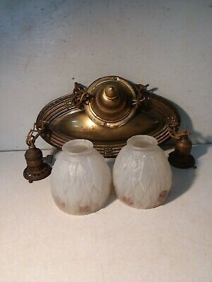 Antique Vtg Brass Pendant Ceiling Two Light Fixture W/Shades & Bryant Switches