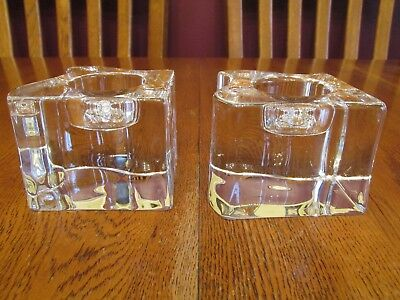 Gorgeous Pair Orrefors Sweden Crystal Puzzle Shaped Candle Holders With Labels