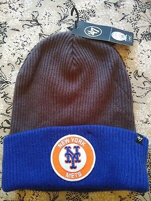 the latest 2a63c 95d14 New York Mets 47 MLB Ice Block Cuff Knit Winter Hat Beanie Charcoal   Blue  NWT