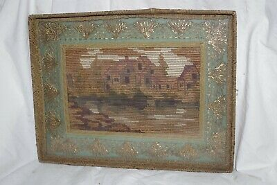 Rare SMALL Antique Handmade NEEDLEPOINT Framed Sampler Gold Metallic Lace