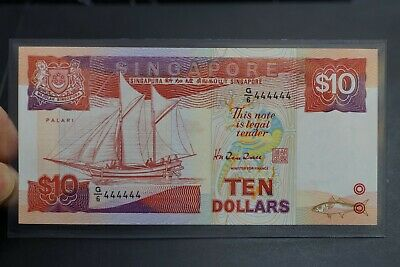 Singapore solid number g6/444444 of $10 ship note ch-UNC condition (v402)
