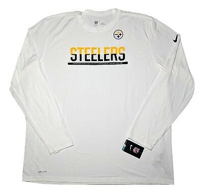 fe87f28d505 Nike Pittsburgh Steelers NFL Dri-Fit Long Sleeve T-Shirt 779770 White 3XL ~