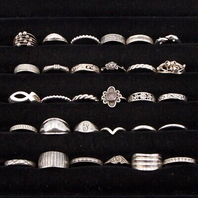 Sterling Silver - Lot of 30 Assorted Solid & Gemstone Rings NOT SCRAP - 63g
