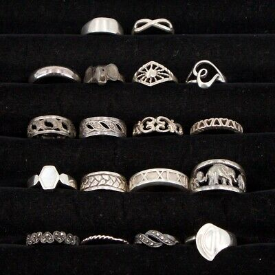 Sterling Silver - Lot of 18 Assorted Solid & Gemstone Rings NOT SCRAP - 49.5g
