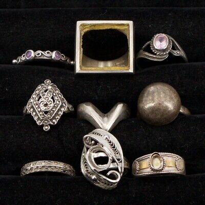 Sterling Silver - Lot of 9 Assorted Solid & Gemstone Rings REPAIR/SCRAP - 41.5g