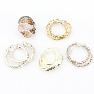 Sterling Silver - Lot of 5 Assorted Pairs of Hoop Earrings NOT SCRAP - 21.5g