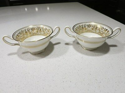 Wedgwood Florentine Gold Lot Of 2 Cream Soup Bowls
