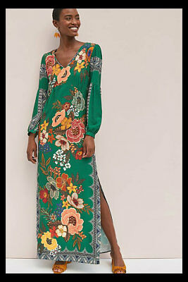 bc5c805c533 NWT Anthropologie Farm Rio Verdor Maxi Dress Side Slits Green Floral XL  228
