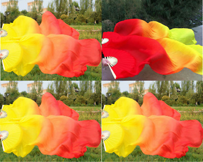 Fashion Hand Made Colorful Silk Bamboo Long Veils Fans for Belly Dance 10 Colors