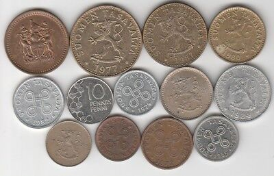 13 different world coins from FINLAND some scarce