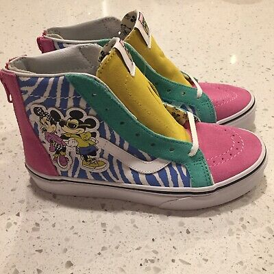 04b3ec77d55 Girls VANS X Disney Shoes Sk8-Hi Zip Kids Size 2 Minnie Mouse 80 s Style