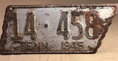 1944 Original  Tennessee Large  State Shape License Plate 14-458 Rusty Patina