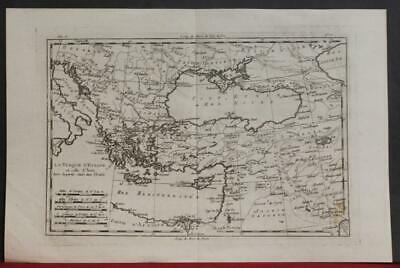 Turkey Cyprus Armenia Middle East Greece Balkans 1780 Bonne/raylnal Antique Map