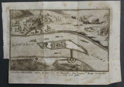 Orsova Romania 1740 Thomas Salmon Unusual Antique Copper Engraved City Map