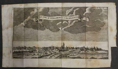 Strasbourg France 1740 Thomas Salmon Unusual Antique Copper Engraved City View