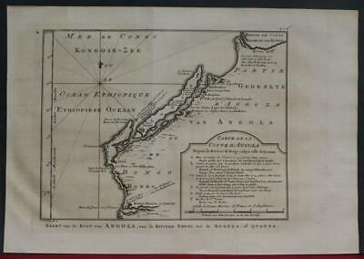 Angola West Africa 1763 Bellin/schley Unusual Antique Copper Engraved Map